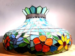 Pair of Tiffany Studios Early 20th Century Coloured Stained Glass Ceiling Lights