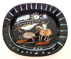Corrida Soleil, 1953. Ceramic Dish Stamped Madoura Plein Feu, Edition Picasso
