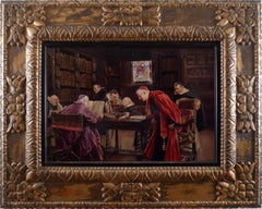 """Clerics in the Library"", 19th Century Oil on Wood Panel by José Gallegos Arnosa"
