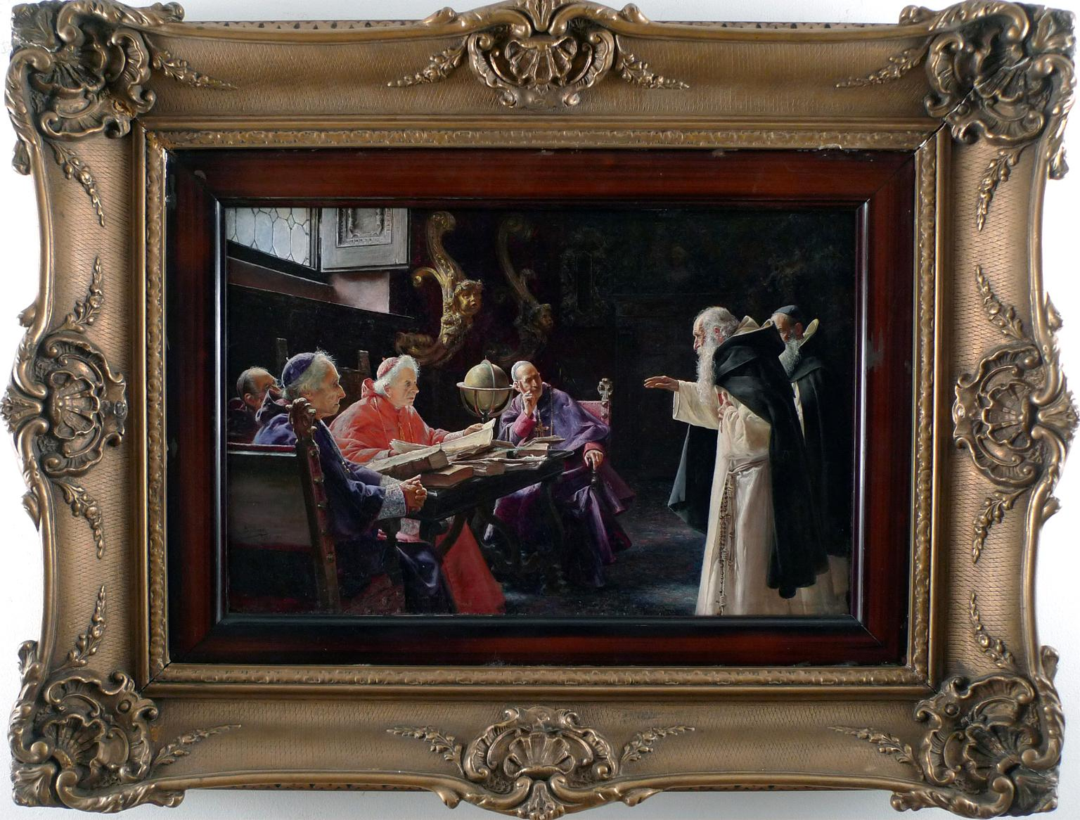 """""""The Cardenal Visit"""" 1900, 19th Century Oil on Wood Panel by José Gallegos"""