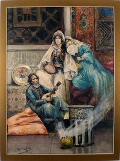 """The Mandolin Serenade"", 19th Century Watercolour on Cardboard by Giménez Martín"