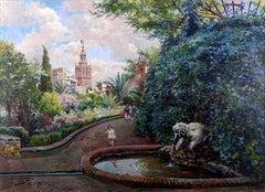 """Seville Gardens"", Early 20th Century Oil on Canvas by Manuel García y Rodríguez"