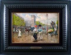 """Porte Saint-Denis, Paris"", Early 20th Century Oil on Canvas by Joaquín Pallares"