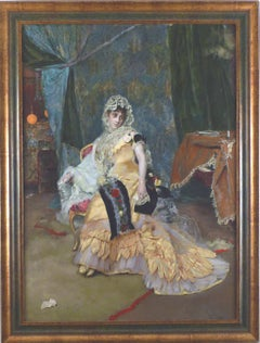 """""""Lady in yellow"""", 19th Century oil on panel by Rogelio de Egusquiza y Barrena"""