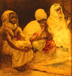 """The Prayer"", 19th Century Watercolor of Three Men Praying by José Gallegos"
