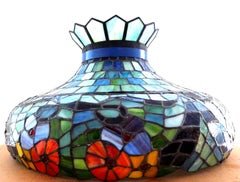 Tiffany Studios Early 20th Century Coloured Stained Glass Ceiling Pendant Light