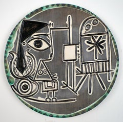Jacqueline au Chevalet, 1956. Ceramic Dish Stamped Madoura Plein Feu by Picasso