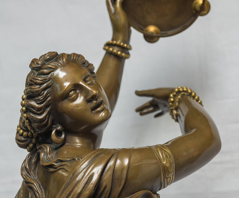 JEAN-BAPTISTE AUGUSTE CLÉSINGER French, 1814-1883  Dancer Zingara  Inscribed F. BARBEDIENNE.FONDEUR with the reduction mecanique A. Collas Brevete seal       Patinated bronze, brown patina H 34.25 in. x W 9 in. x D 15 in.    Notes: Clésinger