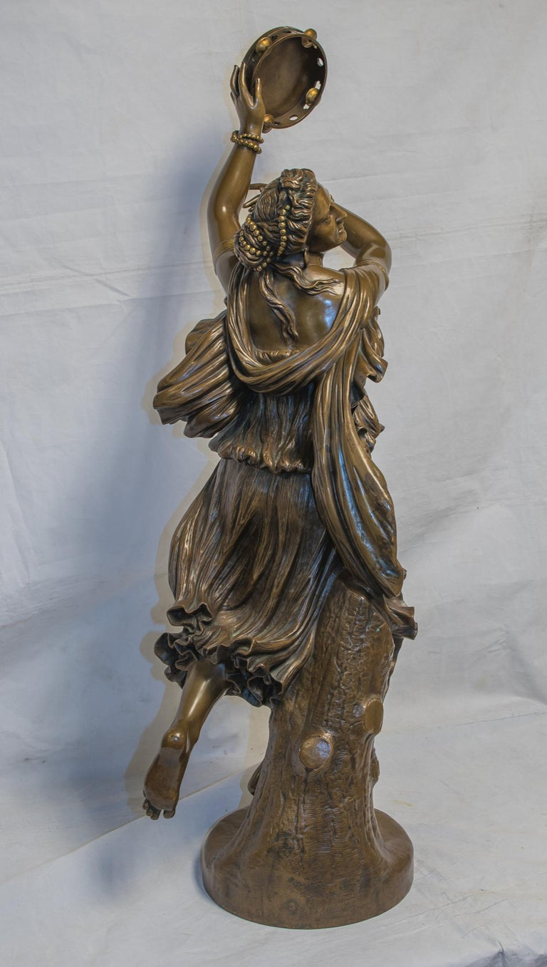 Dancer Zingara - Gold Figurative Sculpture by Jean-Baptiste Auguste Clésinger