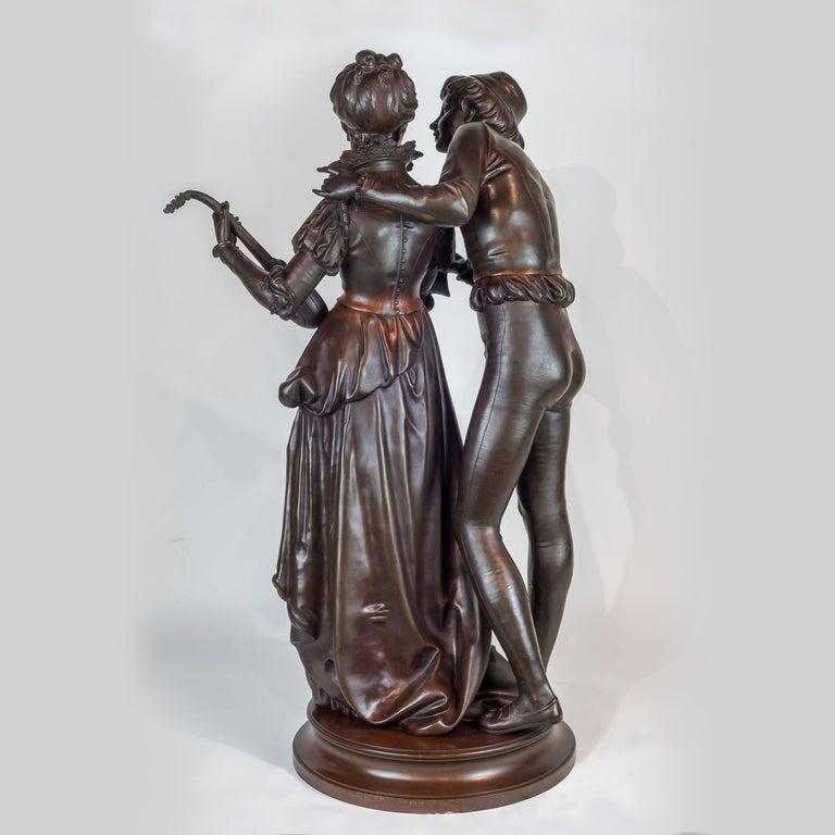 VINCENT DESIRE RAURE DE BROUSSE French, (1876-1908)  Bronze Sculpture of Lovers  Inscribed 'Faure de Brousse'          H 31 in. x W 18.50 in. x D 15.50 in.