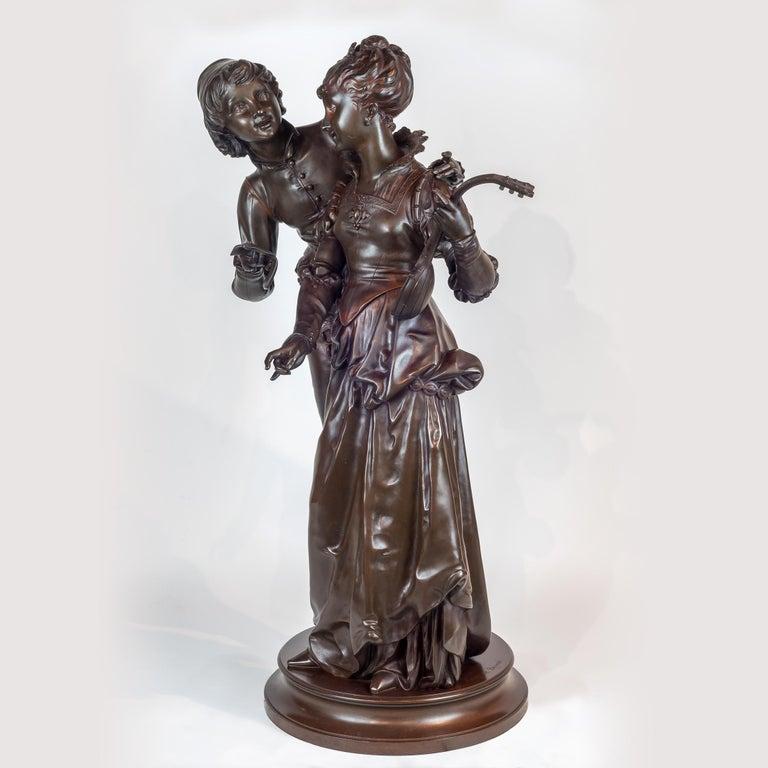 Bronze Sculpture of Two Lovers - Gold Figurative Sculpture by Vincent Desire Faure de Brousse