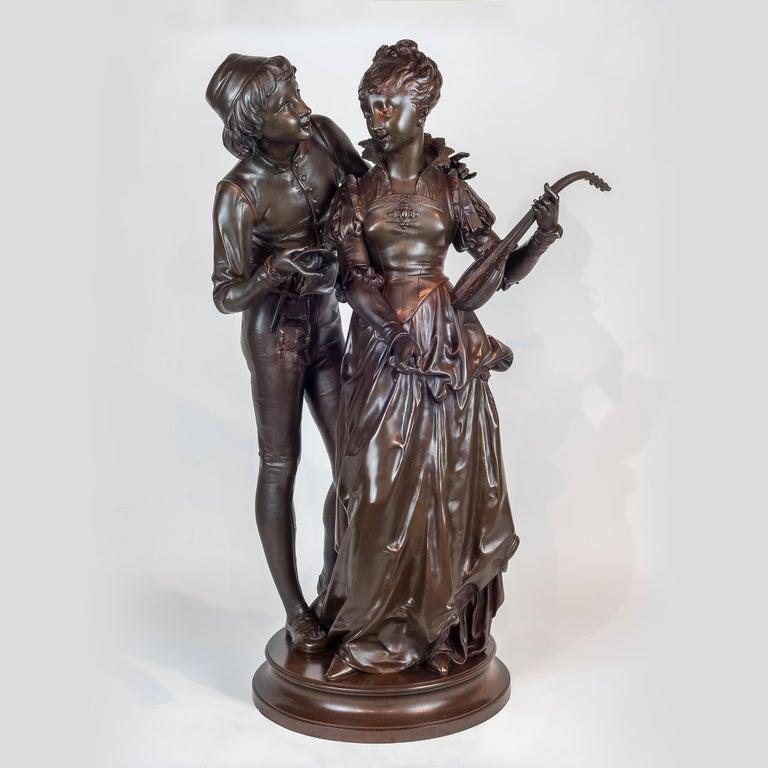 Vincent Desire Faure de Brousse Figurative Sculpture - Bronze Sculpture of Two Lovers
