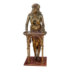 Polychrome-patinated statue of a gypsy woman
