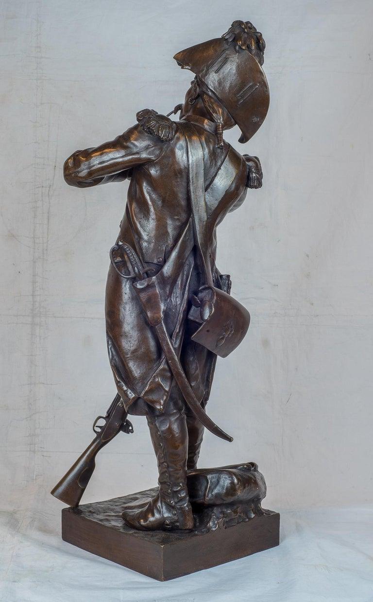 ÉTIENNE-HENRI DUMAIGE   French, (1830-1888)  Avant Le Combat, Apres Le Combat  Pair of patinated bronze; signed 'H. Dumaige' and titled 'AVANT LE COMBAT, APRÈS LE COMBAT, GRENADIER DE, 1792'  25 1/2 x 12 x 11 1/2 inches