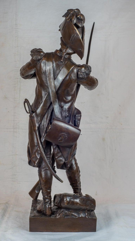 Avant Le Combat, Apres Le Combat - Gold Figurative Sculpture by Etienne-Henri Dumaige