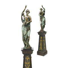 Silvered Figural Bacchante Torcheres