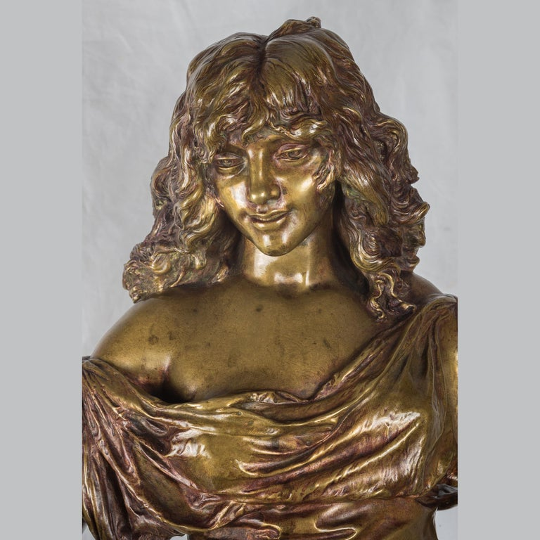 A Fine Adrien Gaudez Patinated Bronze of a Gypsy Woman For Sale 1