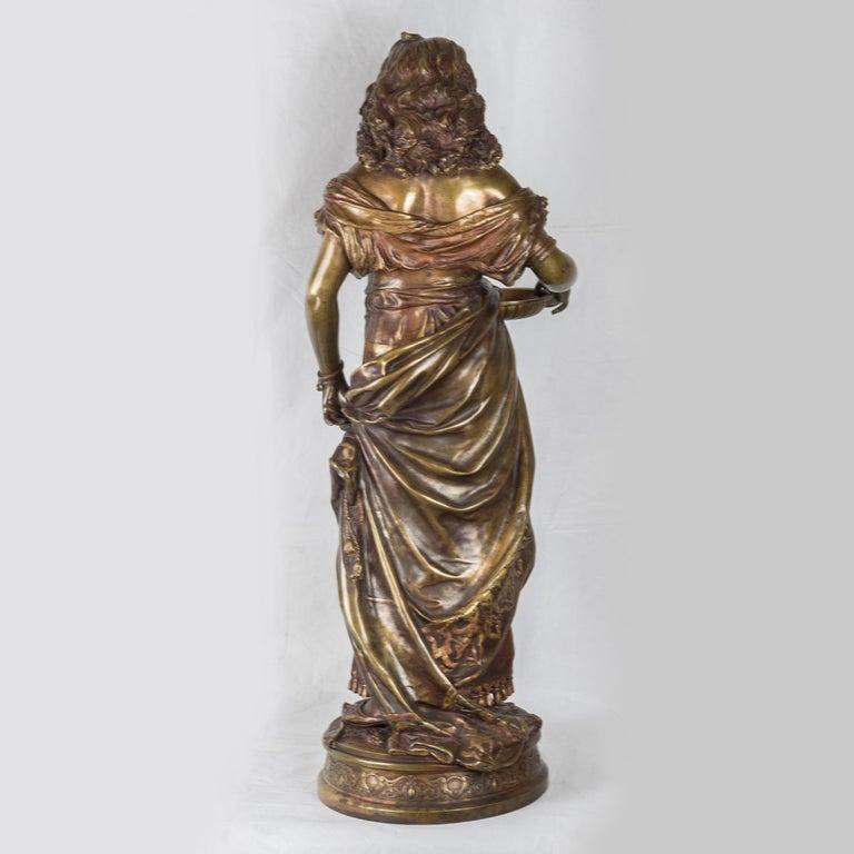 A Fine Adrien Gaudez Patinated Bronze of a Gypsy Woman - Gold Figurative Sculpture by Adrien-Etienne Gaudez