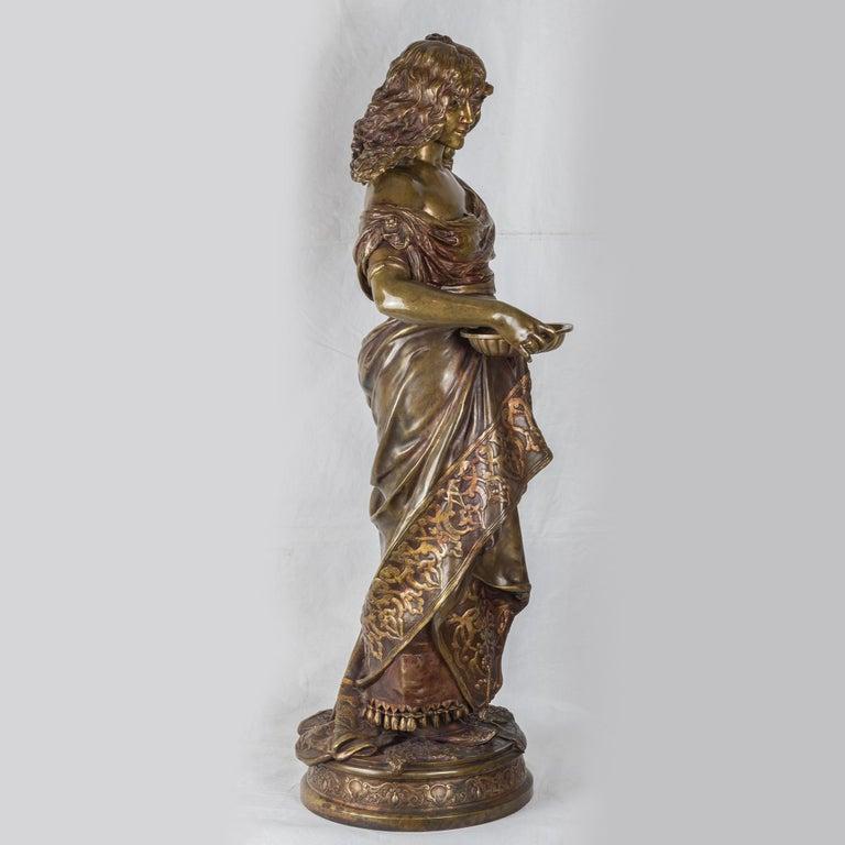 A Fine Adrien Gaudez Patinated Bronze of a Gypsy Woman - Sculpture by Adrien-Etienne Gaudez