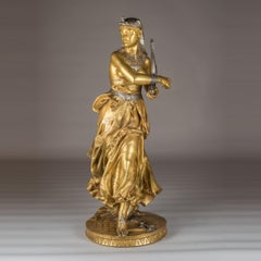 A Fine Falguiere Gilt-Bronze Sculpture of an Egyptian Dancer