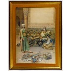 A Fine Gustavo Simoni Orientalist Painting of a Persian Scene
