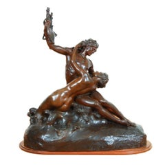 Patinated Bronze Sculpture of a Man and a Mermaid