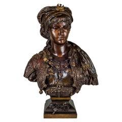 A Fine Etienne Gaudez Polychrome-Patinated Bronze Orientalist Bust