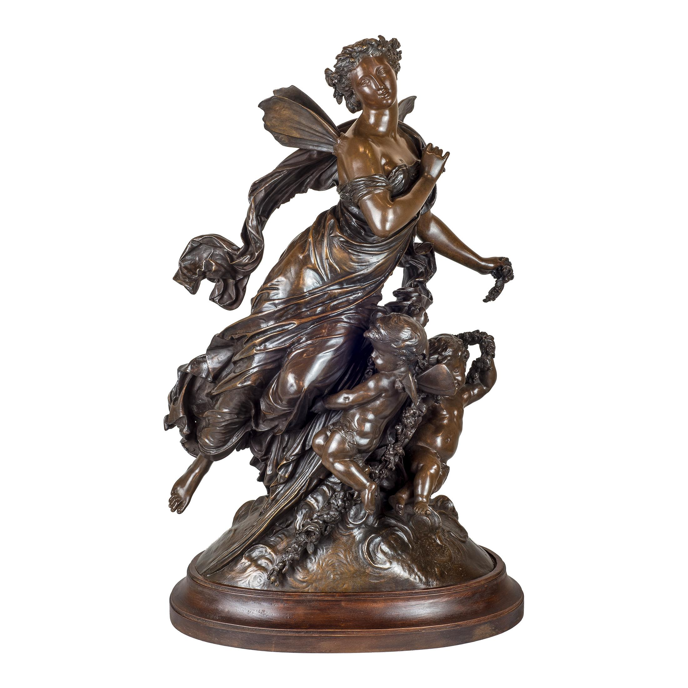 French Patinated Bronze Figural Group on Bronze by Moreau