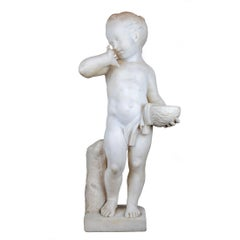 Italian Marble Sculpture Statue of a Boy Holding a Nest