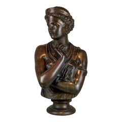 A Fine Patinated Bronze Bust of Helen of Troy by Clésinger