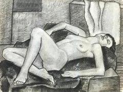 1937 Charcoal Female Nude John Ayres Original Drawing
