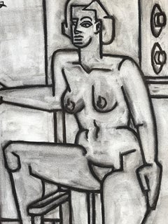 "1940s Charcoal Female Nude Drawing ""Nude in Class"" Bay Area Artist"