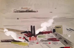 1950s Gouache Smokestack Bay Area Landscape