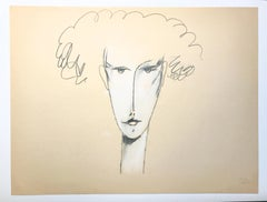 """""""Curly Hair"""" 1980s Pencil and Pastel Portrait Bay Area Artist"""