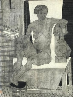 1929 Charcoal Female Nude Drawing with Cubist Sculpture