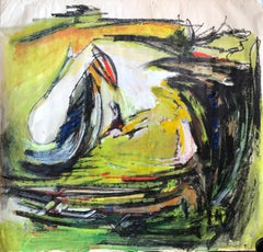 """Yellow & Black Abstract"" Mid Century Gouache, Oil Pastel Abstract Expressionist"