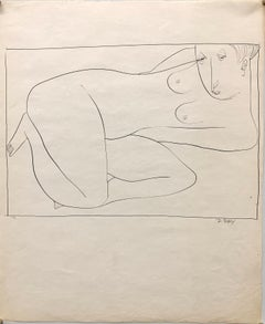 "1951 ""Boxed In"" Modernist Ink Line Drawing NYC Artist"