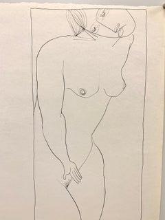 Mid Century Ink Female Nude Line Drawing NYC Artist University of Paris 1953-54