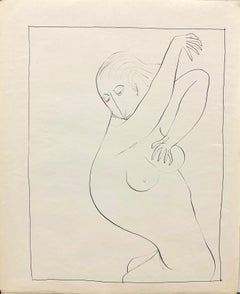 """1950s Ink Line Drawing Female Nude """"Shower"""" The Art Students League"""