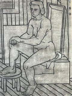 1940s Charcoal and India Ink Female Nude Drawing UC Berkeley