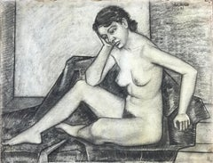 1937 Realist Charcoal Drawing Female Nude Signed John Ayres