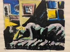 """Man in Door"" Gouache Interior Painting Mid Century The Art Students League"