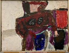 "1950s's NYC Female Artist Impasto Painting ""Football Player"" Brooklyn Museum"