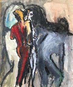 "1960s Gouache & Pastel ""Three Dark Figures"" Bay Area Figurative Movement"
