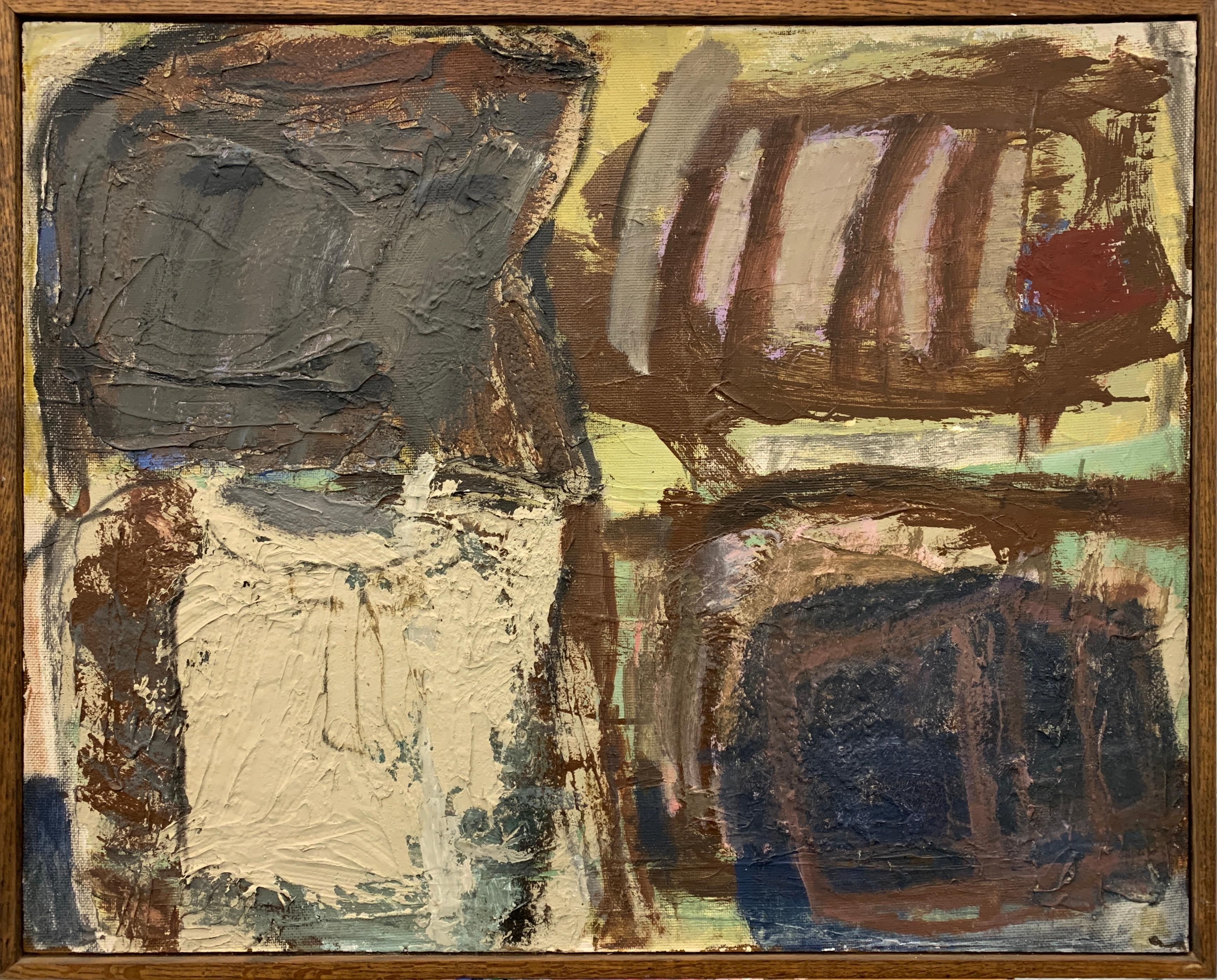 """1950s Impasto Paint Girl with Doll"""" NYC Female Artist Abstract Expressionist"""