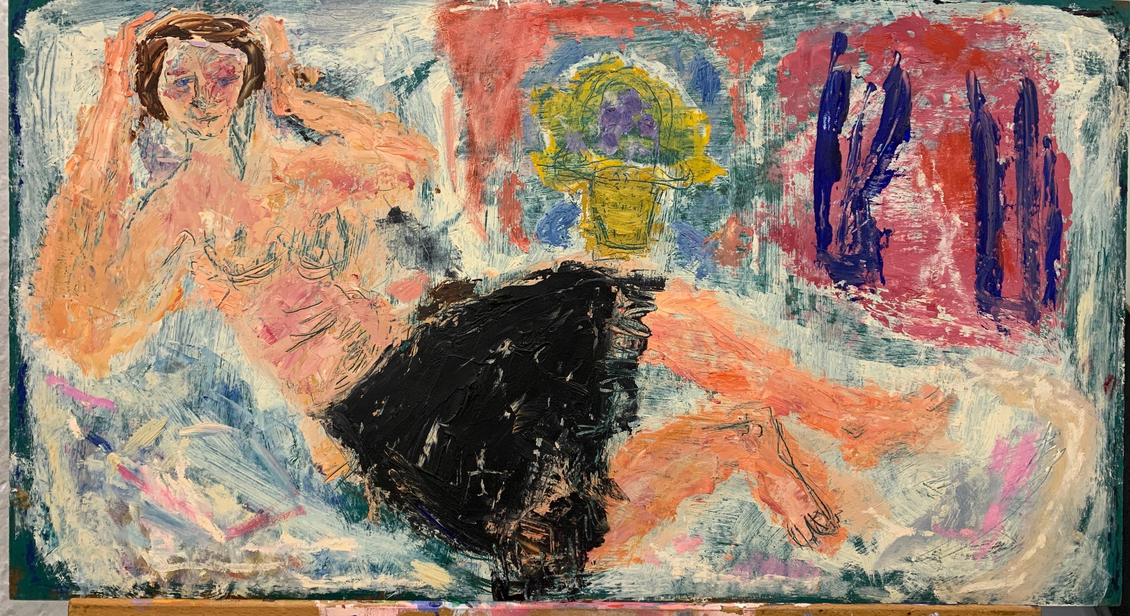 Mid Century Art Brut Oil on Masonite Female Nude Painting