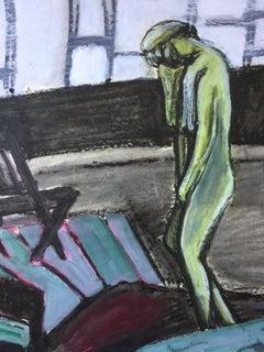 """Striped Floor"" Mid Century Bay Area Figurative Movement Female Artist"