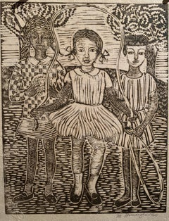 "1960 Linocut ""Three Girls Playing"" Margaret Burroughs b.1915"