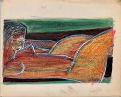 "1950s ""Orange Nude Lounging"" Art Students League NYC Artist"