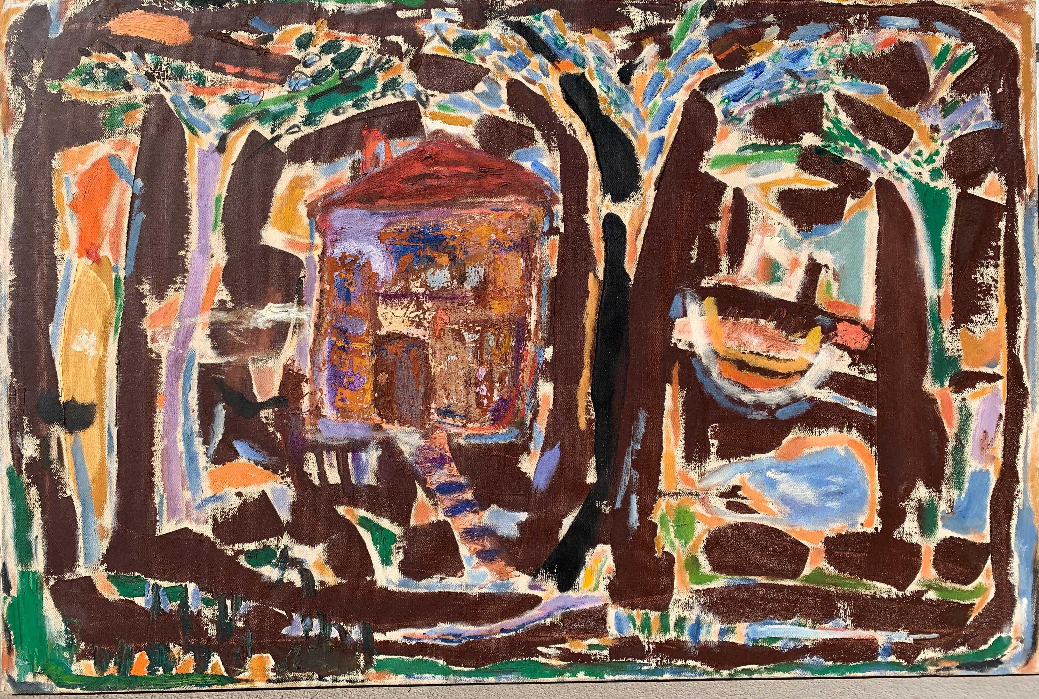 "1950s ""Across The River"" Oil on Canvas, NYC Female Artist Art Brut"